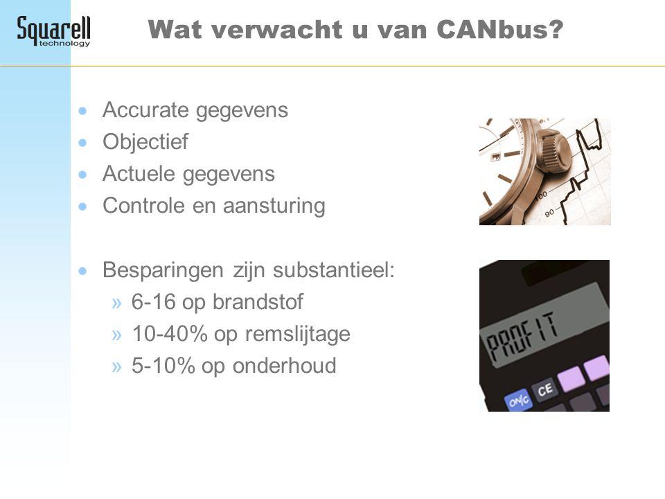 Wat verwacht u van CANbus?  Accurate gegevens  Objectief  Actuele gegevens  Controle en aansturing  Besparingen zijn substantieel: »6-16 op brand