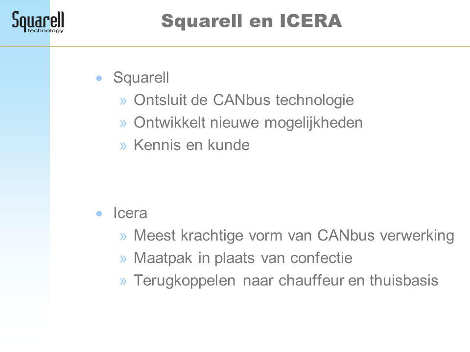 Squarell en ICERA  Squarell »Ontsluit de CANbus technologie »Ontwikkelt nieuwe mogelijkheden »Kennis en kunde  Icera »Meest krachtige vorm van CANbu
