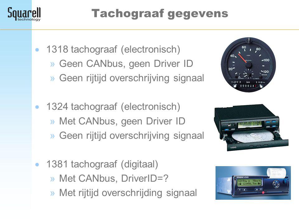 Tachograaf gegevens  1318 tachograaf (electronisch) »Geen CANbus, geen Driver ID »Geen rijtijd overschrijving signaal  1324 tachograaf (electronisch
