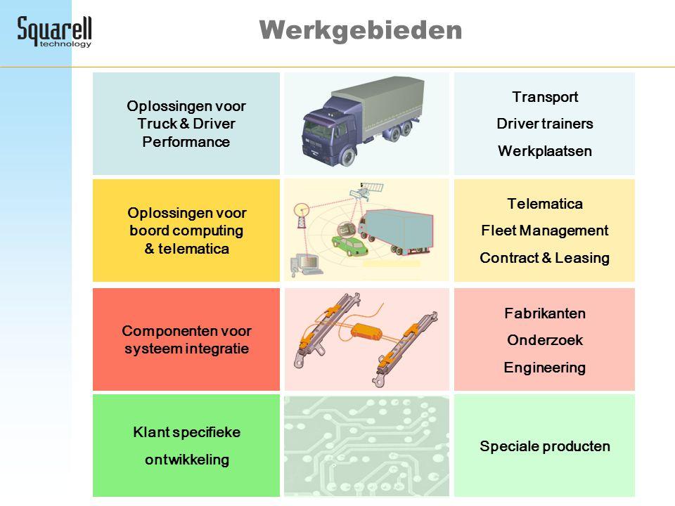 Werkgebieden Oplossingen voor Truck & Driver Performance Componenten voor systeem integratie Oplossingen voor boord computing & telematica Transport D