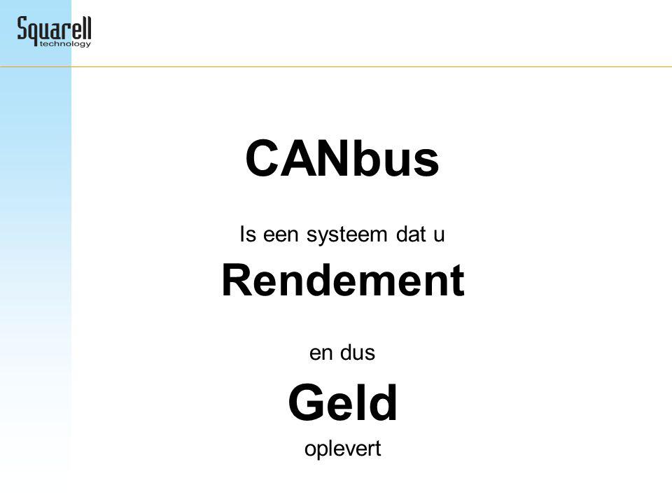 CANbus Is een systeem dat u Rendement en dus Geld oplevert