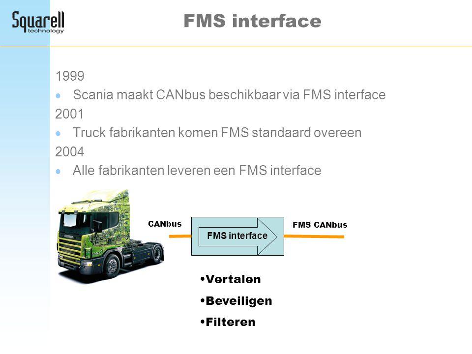 FMS interface 1999  Scania maakt CANbus beschikbaar via FMS interface 2001  Truck fabrikanten komen FMS standaard overeen 2004  Alle fabrikanten le