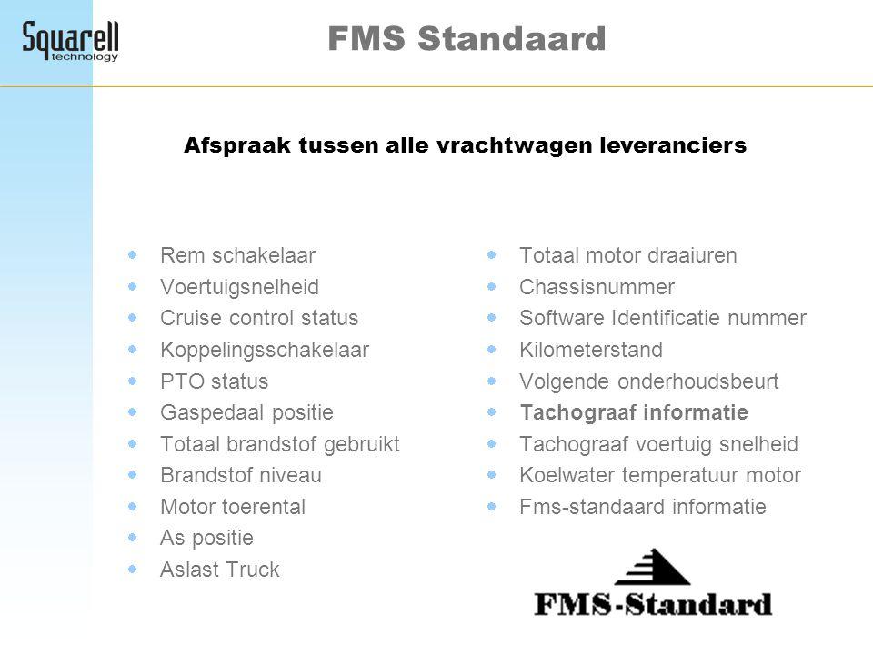 FMS Standaard  Rem schakelaar  Voertuigsnelheid  Cruise control status  Koppelingsschakelaar  PTO status  Gaspedaal positie  Totaal brandstof g