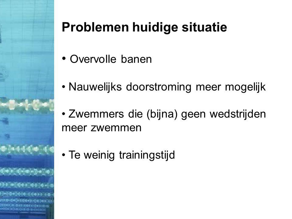 Problemen huidige situatie • Overvolle banen • Nauwelijks doorstroming meer mogelijk • Zwemmers die (bijna) geen wedstrijden meer zwemmen • Te weinig