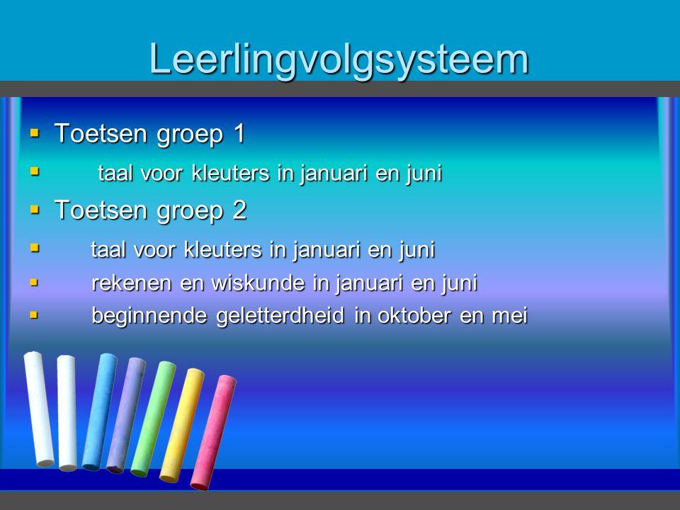 Leerlingvolgsysteem  Toetsen groep 1  taal voor kleuters in januari en juni  Toetsen groep 2  taal voor kleuters in januari en juni  rekenen en w