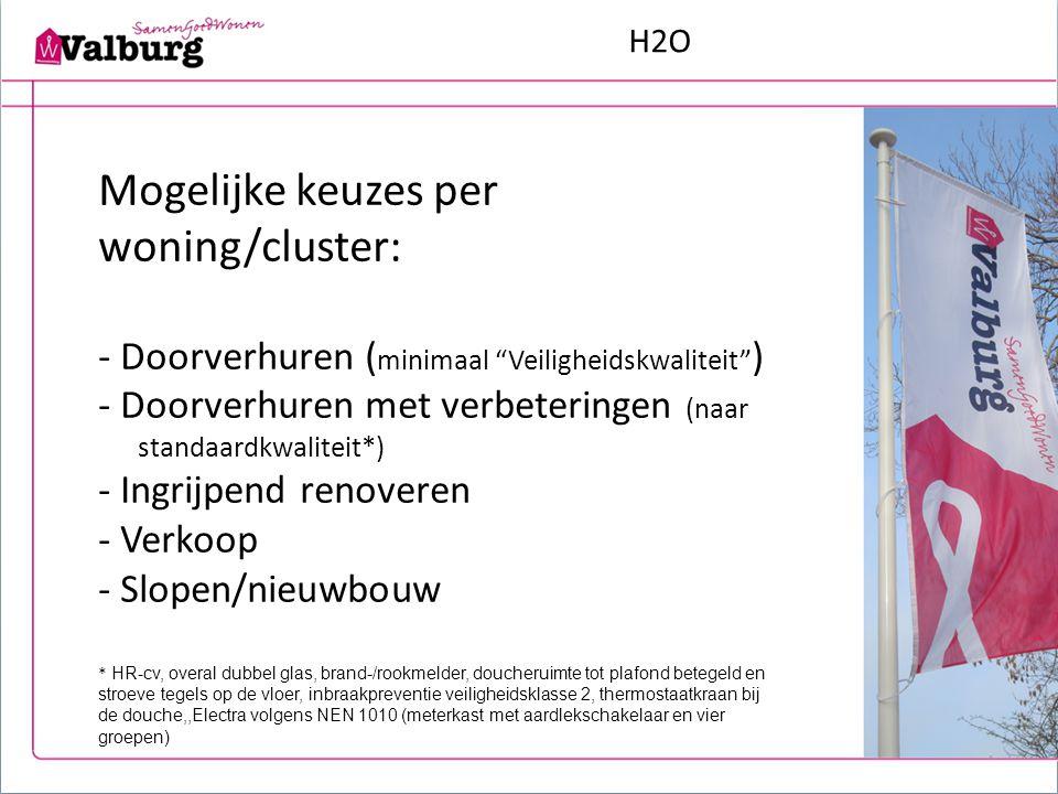 """H2O Mogelijke keuzes per woning/cluster: - Doorverhuren ( minimaal """"Veiligheidskwaliteit"""" ) - Doorverhuren met verbeteringen (naar standaardkwaliteit*"""