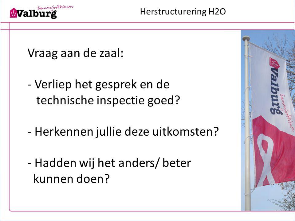 Herstructurering H2O Vraag aan de zaal: - Verliep het gesprek en de technische inspectie goed? - Herkennen jullie deze uitkomsten? - Hadden wij het an