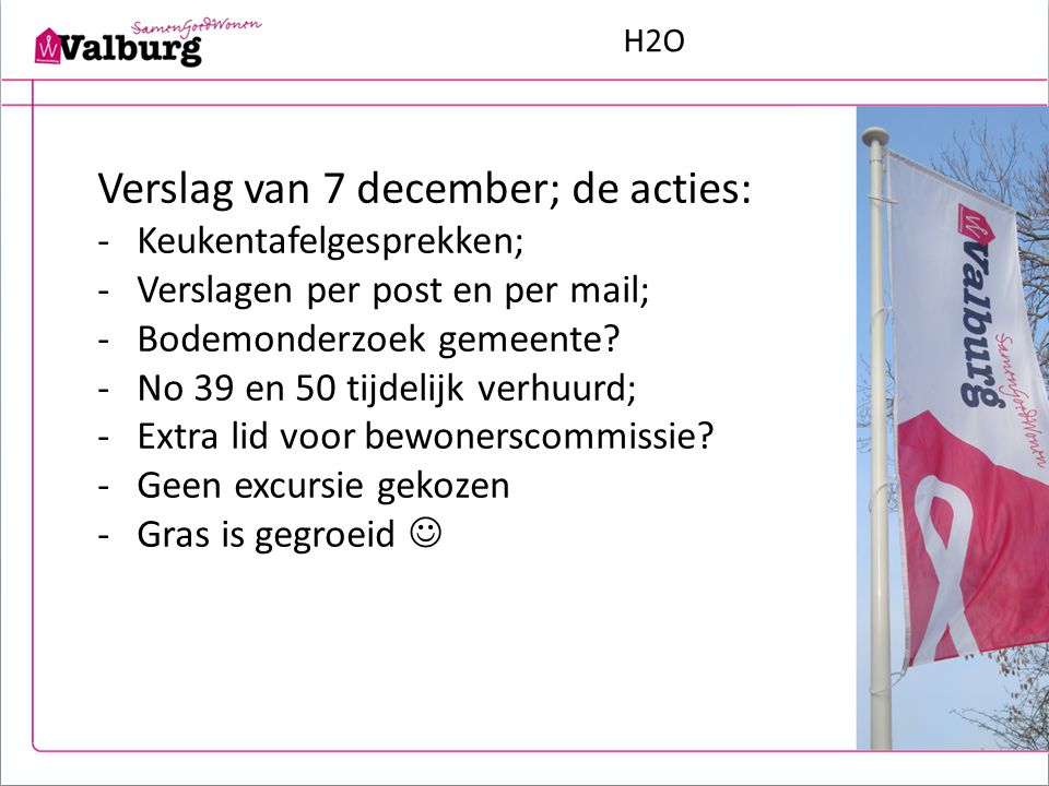 H2O Na 7 december tot nu -Keukentafelgesprekken voorbereiden, houden en verwerken -Vragenlijsten maken (dec./jan.) -Interviews houden (jan./febr.) -Technische opnames (febr./maart) -Verwerking gegevens (april/mei) -Gesprekken met gemeente -Gesprekken met stedebouwkundige -Gesprekken met bewonerscommissie