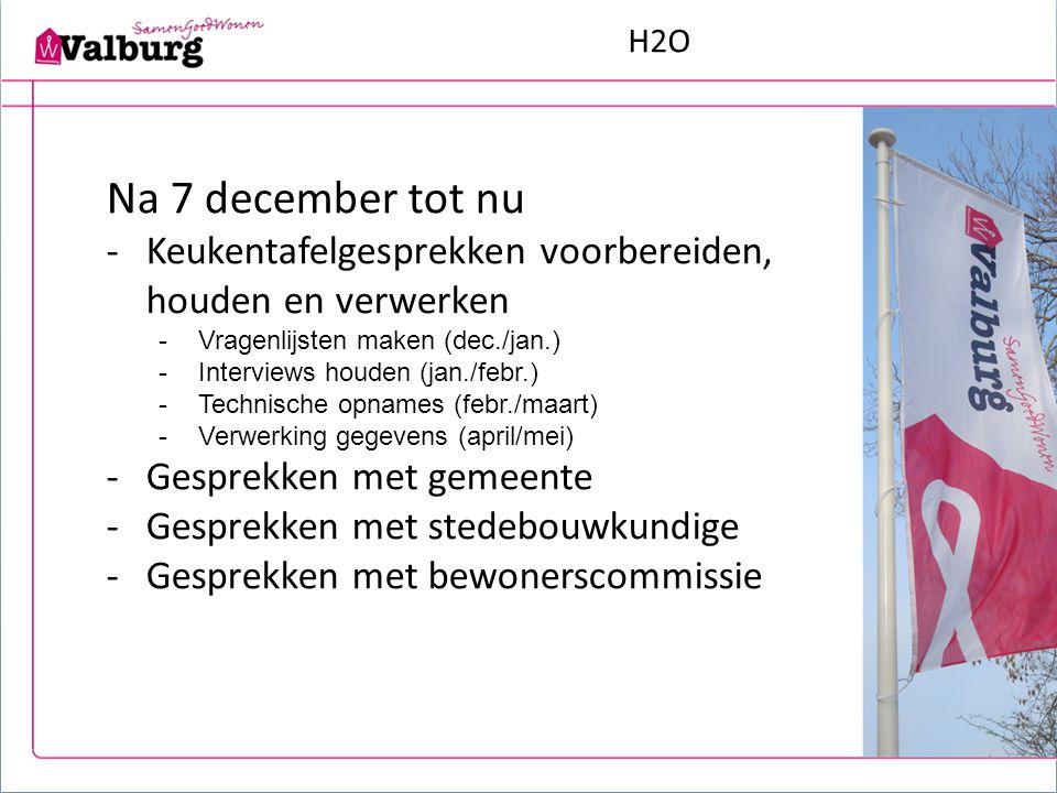 H2O Na 7 december tot nu -Keukentafelgesprekken voorbereiden, houden en verwerken -Vragenlijsten maken (dec./jan.) -Interviews houden (jan./febr.) -Te