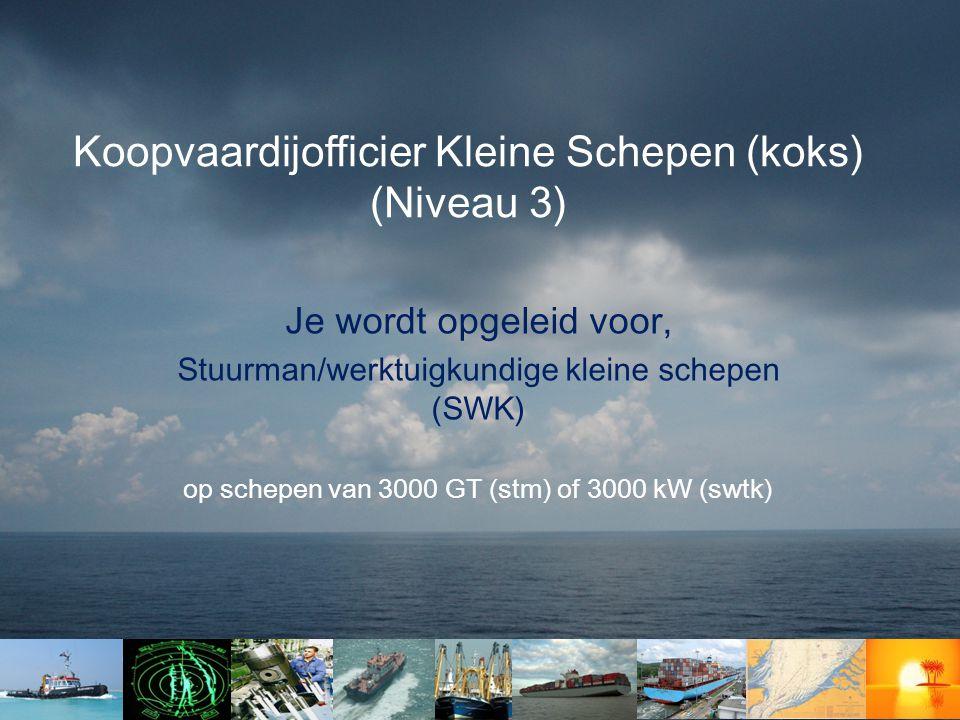 Je wordt opgeleid voor, Stuurman/werktuigkundige kleine schepen (SWK) op schepen van 3000 GT (stm) of 3000 kW (swtk) Koopvaardijofficier Kleine Schepen (koks) (Niveau 3)