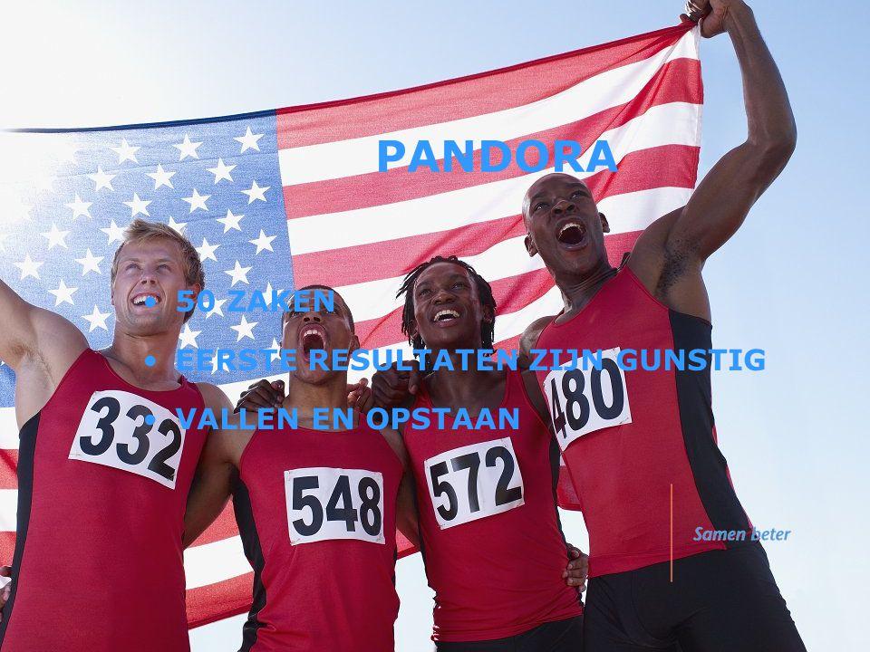 PANDORA •50 ZAKEN •EERSTE RESULTATEN ZIJN GUNSTIG •VALLEN EN OPSTAAN