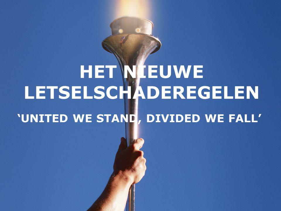 HET NIEUWE LETSELSCHADEREGELEN 'UNITED WE STAND, DIVIDED WE FALL'