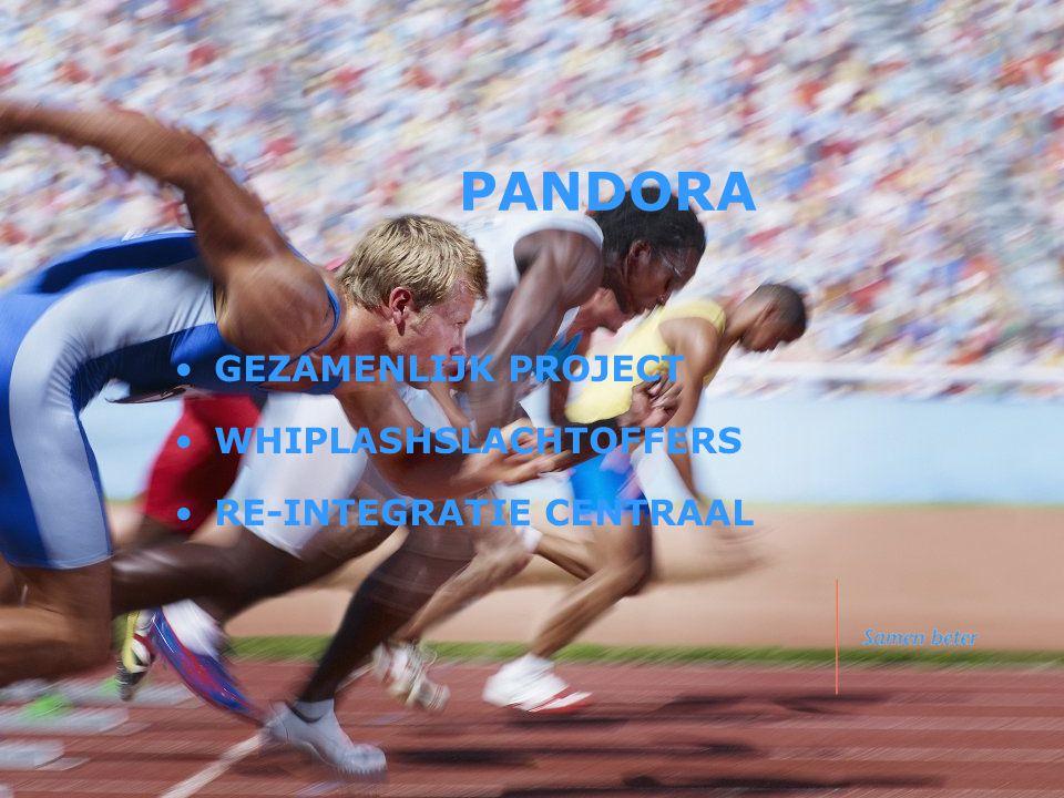 PANDORA •GEZAMENLIJK PROJECT •WHIPLASHSLACHTOFFERS •RE-INTEGRATIE CENTRAAL