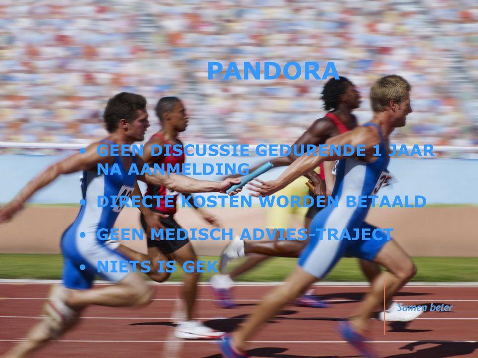 PANDORA •GEEN DISCUSSIE GEDURENDE 1 JAAR NA AANMELDING •DIRECTE KOSTEN WORDEN BETAALD •GEEN MEDISCH ADVIES-TRAJECT •NIETS IS GEK