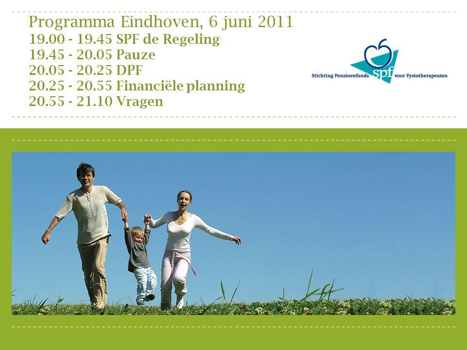Programma Eindhoven, 6 juni 2011 19.00 - 19.45 SPF de Regeling 19.45 - 20.05 Pauze 20.05 - 20.25 DPF 20.25 - 20.55 Financiële planning 20.55 - 21.10 V