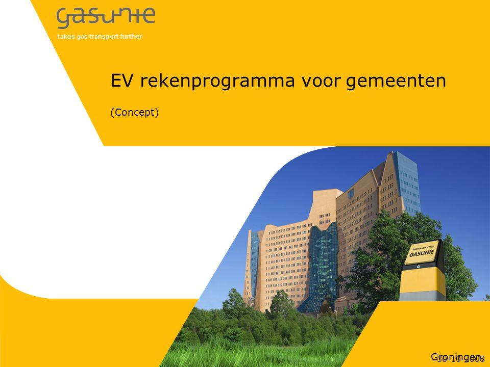 takes gas transport further Groningen, EV rekenprogramma voor gemeenten (Concept) 30-10-2008