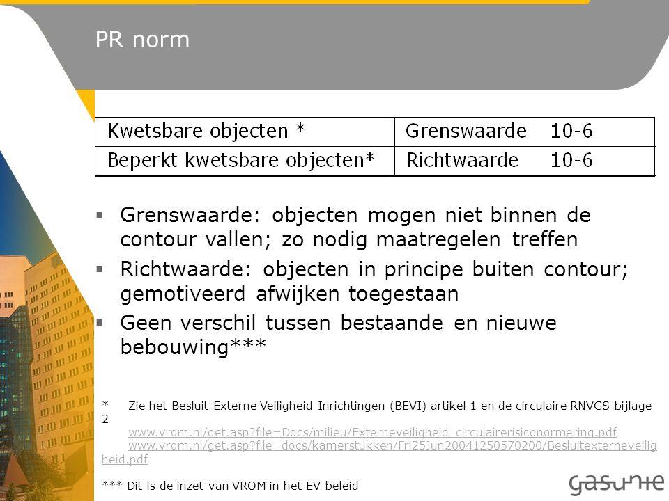 *Zie het Besluit Externe Veiligheid Inrichtingen (BEVI) artikel 1 en de circulaire RNVGS bijlage 2 www.vrom.nl/get.asp file=Docs/milieu/Externeveiligheid_circulairerisiconormering.pdf www.vrom.nl/get.asp file=docs/kamerstukken/Fri25Jun20041250570200/Besluitexterneveilig heid.pdfwww.vrom.nl/get.asp file=Docs/milieu/Externeveiligheid_circulairerisiconormering.pdf www.vrom.nl/get.asp file=docs/kamerstukken/Fri25Jun20041250570200/Besluitexterneveilig heid.pdf *** Dit is de inzet van VROM in het EV-beleid  Grenswaarde: objecten mogen niet binnen de contour vallen; zo nodig maatregelen treffen  Richtwaarde: objecten in principe buiten contour; gemotiveerd afwijken toegestaan  Geen verschil tussen bestaande en nieuwe bebouwing*** PR norm