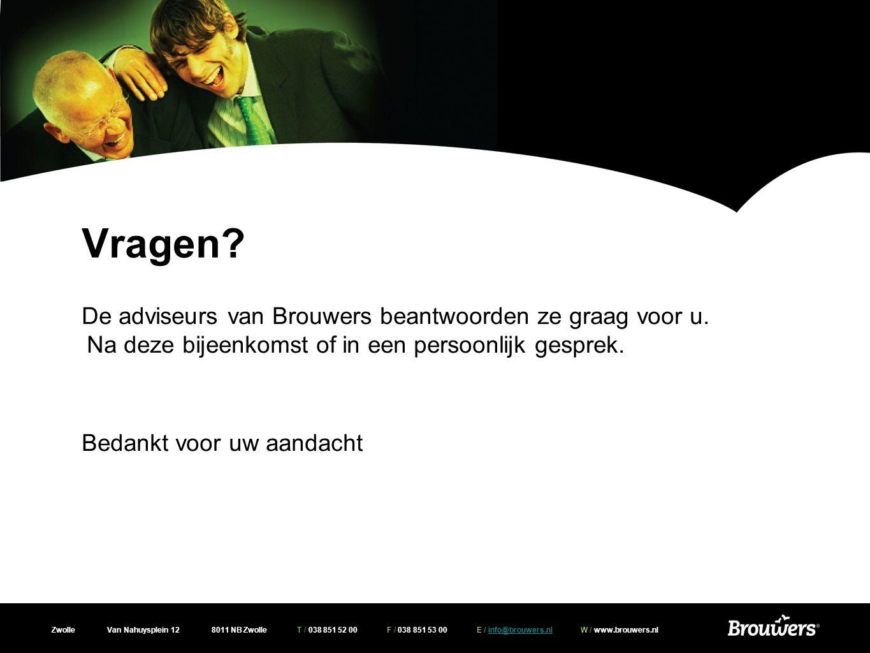 Zwolle Van Nahuysplein 12 8011 NB Zwolle T / 038 851 52 00 F / 038 851 53 00 E / info@brouwers.nl W / www.brouwers.nlinfo@brouwers.nl Vragen? De advis