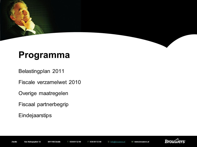 Zwolle Van Nahuysplein 12 8011 NB Zwolle T / 038 851 52 00 F / 038 851 53 00 E / info@brouwers.nl W / www.brouwers.nlinfo@brouwers.nl Belastingplan 2011 -Verlenging termijn willekeurige afschrijving -Tijdelijke verlenging verhuisregeling -Herleving hypotheekrenteaftrek na tijdelijke verhuur -Eigenwoningregeling ook van toepassing bij verblijf in met AWBZ instellingen vergelijkbare instellingen
