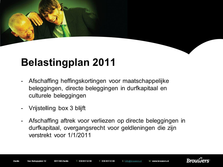Zwolle Van Nahuysplein 12 8011 NB Zwolle T / 038 851 52 00 F / 038 851 53 00 E / info@brouwers.nl W / www.brouwers.nlinfo@brouwers.nl Overige fiscale maatregelen Aftrek uitgaven monumentenpanden -Verruiming persoonsgebonden aftrekpost -Regeling ook van toepassing bij: eigen woning in verkoop, echtscheiding, verblijf in AWBZ instelling, bij tijdelijk verblijf elders