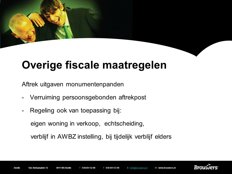 Zwolle Van Nahuysplein 12 8011 NB Zwolle T / 038 851 52 00 F / 038 851 53 00 E / info@brouwers.nl W / www.brouwers.nlinfo@brouwers.nl Fiscale verzamelwet 2010 -milieu-investeringsaftrek (MIA) met ingang van 2010 ook voor elektrische auto's -Box 3 peildatum altijd 1 januari ook bij emigratie en immigratie -Box 3 geen aftrek buitenlandse belastingschulden
