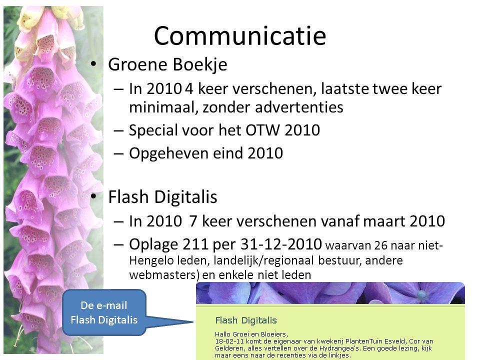 Communicatie • Groene Boekje – In 2010 4 keer verschenen, laatste twee keer minimaal, zonder advertenties – Special voor het OTW 2010 – Opgeheven eind