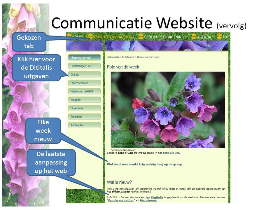 Communicatie Website (vervolg) Klik hier voor de Dititalis uitgaven De laatste aanpassing op het web Elke week nieuw Gekozen tab