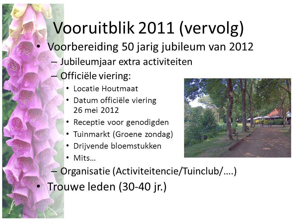 Vooruitblik 2011 (vervolg) • Voorbereiding 50 jarig jubileum van 2012 – Jubileumjaar extra activiteiten – Officiële viering: • Locatie Houtmaat • Datu