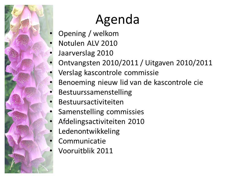 Agenda • Opening / welkom • Notulen ALV 2010 • Jaarverslag 2010 • Ontvangsten 2010/2011 / Uitgaven 2010/2011 • Verslag kascontrole commissie • Benoemi