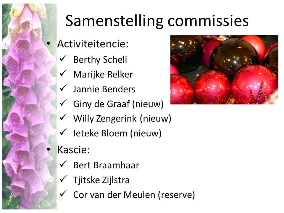 Samenstelling commissies • Activiteitencie:  Berthy Schell  Marijke Relker  Jannie Benders  Giny de Graaf (nieuw)  Willy Zengerink (nieuw)  Iete