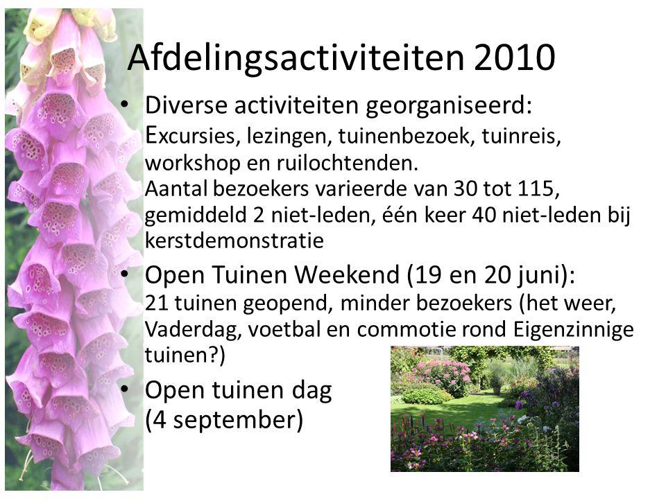 Afdelingsactiviteiten 2010 • Diverse activiteiten georganiseerd: E xcursies, lezingen, tuinenbezoek, tuinreis, workshop en ruilochtenden. Aantal bezoe