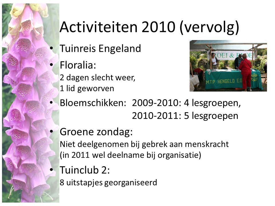 Activiteiten 2010 (vervolg) • Tuinreis Engeland • Floralia: 2 dagen slecht weer, 1 lid geworven • Bloemschikken: 2009-2010: 4 lesgroepen, 2010-2011: 5