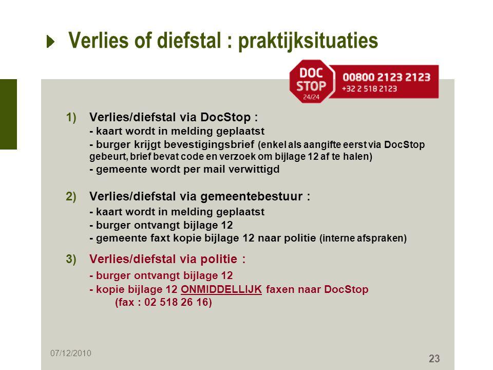 23 Verlies of diefstal : praktijksituaties 1)Verlies/diefstal via DocStop : - kaart wordt in melding geplaatst - burger krijgt bevestigingsbrief (enke