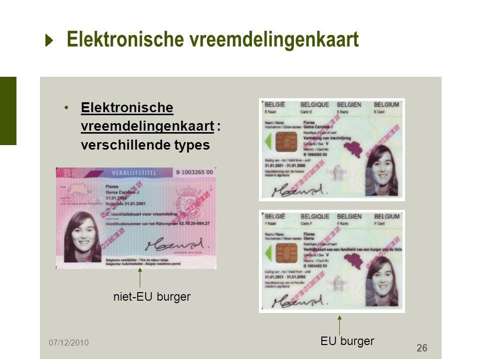 26 Elektronische vreemdelingenkaart •Elektronische vreemdelingenkaart : verschillende types niet-EU burger 07/12/2010 EU burger