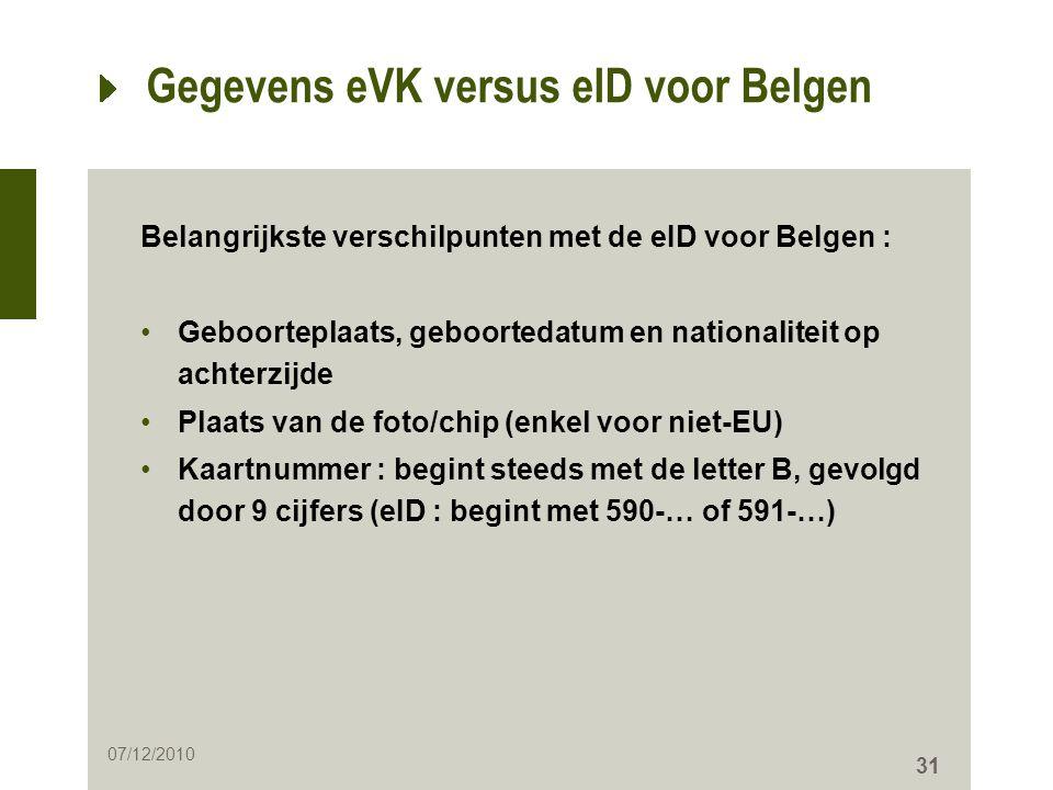 31 Gegevens eVK versus eID voor Belgen Belangrijkste verschilpunten met de eID voor Belgen : •Geboorteplaats, geboortedatum en nationaliteit op achter