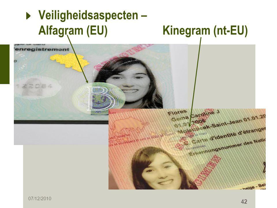 42 Veiligheidsaspecten – Alfagram (EU) Kinegram (nt-EU) 07/12/2010