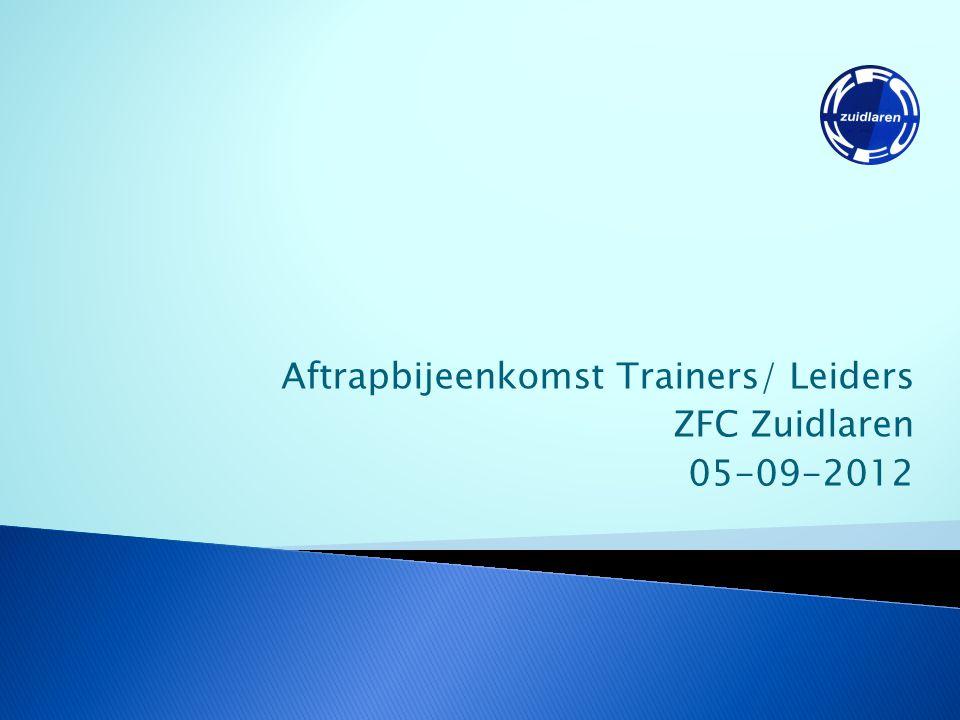 Aftrapbijeenkomst // ZFC Zuidlaren 2012 // www.zfczuidlaren.nl Materiaal  Zelf verantwoordelijk voor je materiaal  Ballenhok altijd weer op slot.
