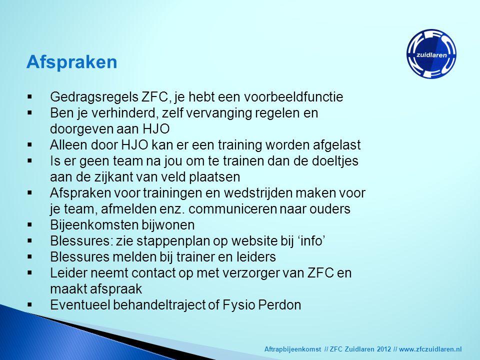 Aftrapbijeenkomst // ZFC Zuidlaren 2012 // www.zfczuidlaren.nl Afspraken  Gedragsregels ZFC, je hebt een voorbeeldfunctie  Ben je verhinderd, zelf v