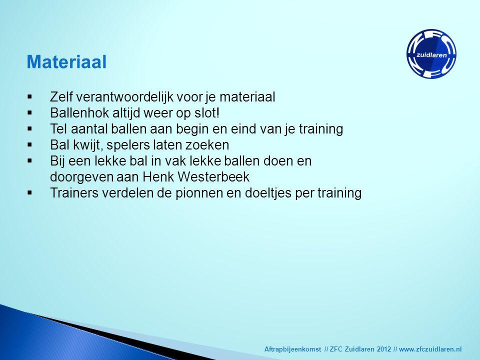 Aftrapbijeenkomst // ZFC Zuidlaren 2012 // www.zfczuidlaren.nl Materiaal  Zelf verantwoordelijk voor je materiaal  Ballenhok altijd weer op slot! 