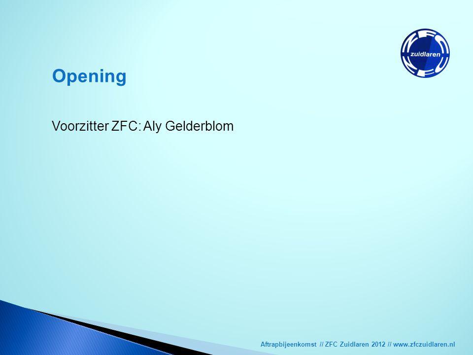 Aftrapbijeenkomst // ZFC Zuidlaren 2012 // www.zfczuidlaren.nl Opening Voorzitter ZFC: Aly Gelderblom