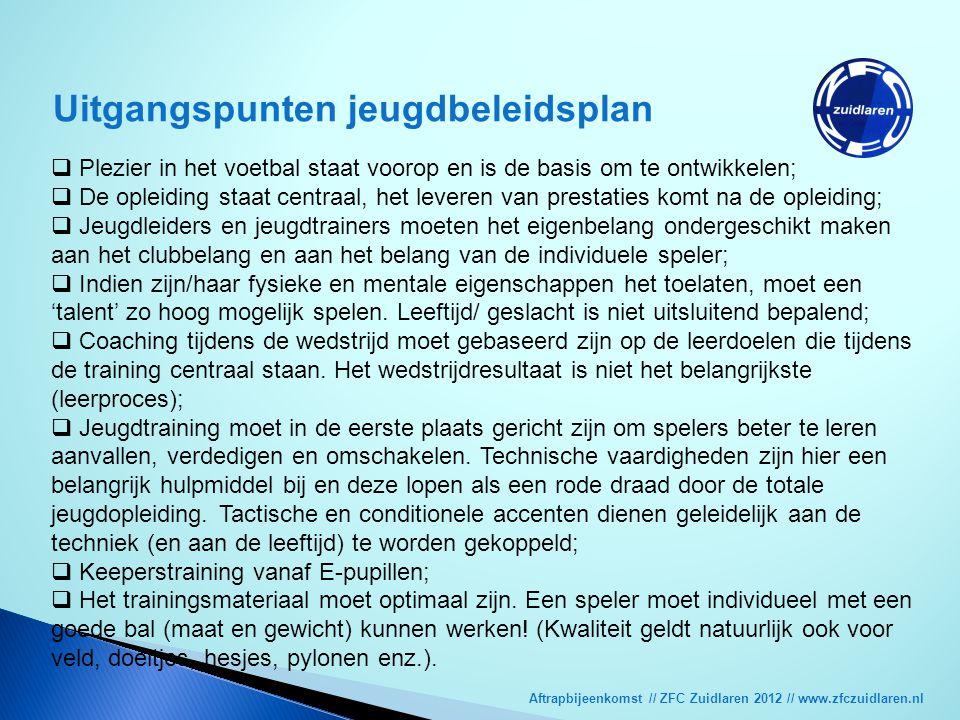 Aftrapbijeenkomst // ZFC Zuidlaren 2012 // www.zfczuidlaren.nl Uitgangspunten jeugdbeleidsplan  Plezier in het voetbal staat voorop en is de basis om