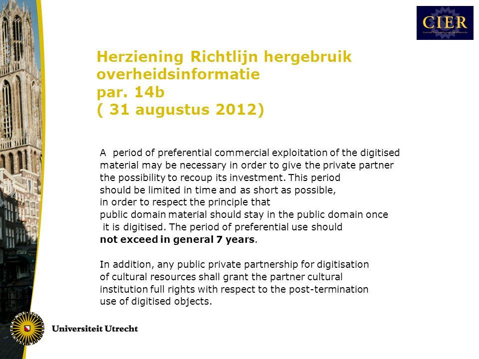 Herziening Richtlijn hergebruik overheidsinformatie par.