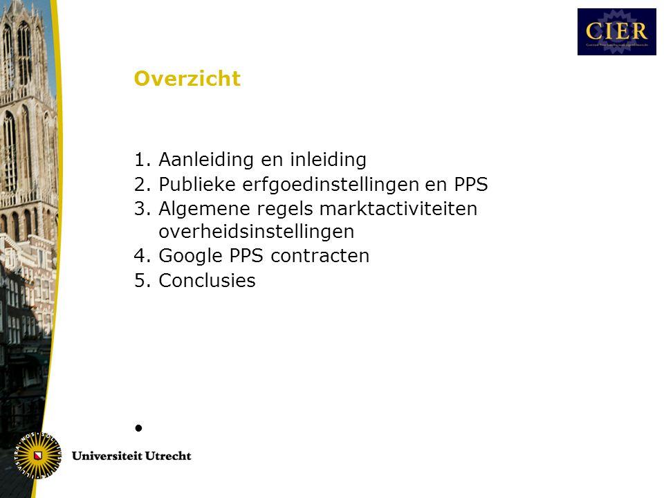 Overzicht 1.Aanleiding en inleiding 2. Publieke erfgoedinstellingen en PPS 3.