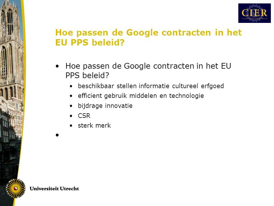 Hoe passen de Google contracten in het EU PPS beleid.