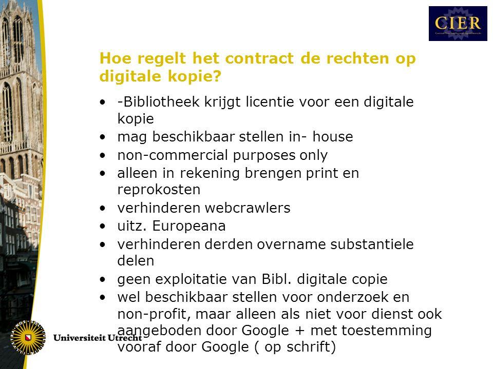 Hoe regelt het contract de rechten op digitale kopie.