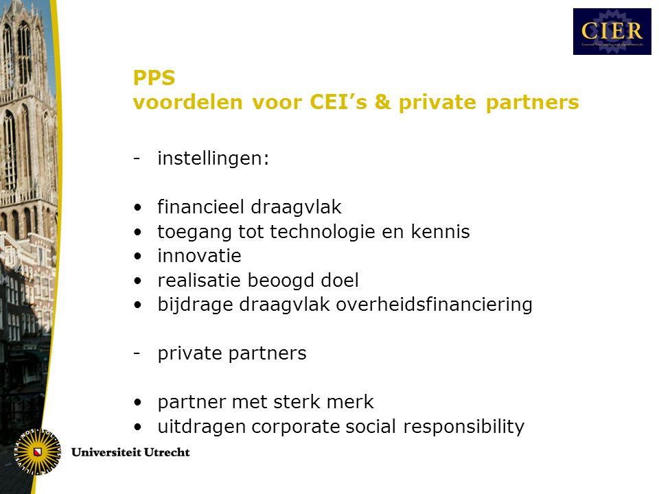 PPS voordelen voor CEI's & private partners -instellingen: •financieel draagvlak •toegang tot technologie en kennis •innovatie •realisatie beoogd doel •bijdrage draagvlak overheidsfinanciering -private partners •partner met sterk merk •uitdragen corporate social responsibility