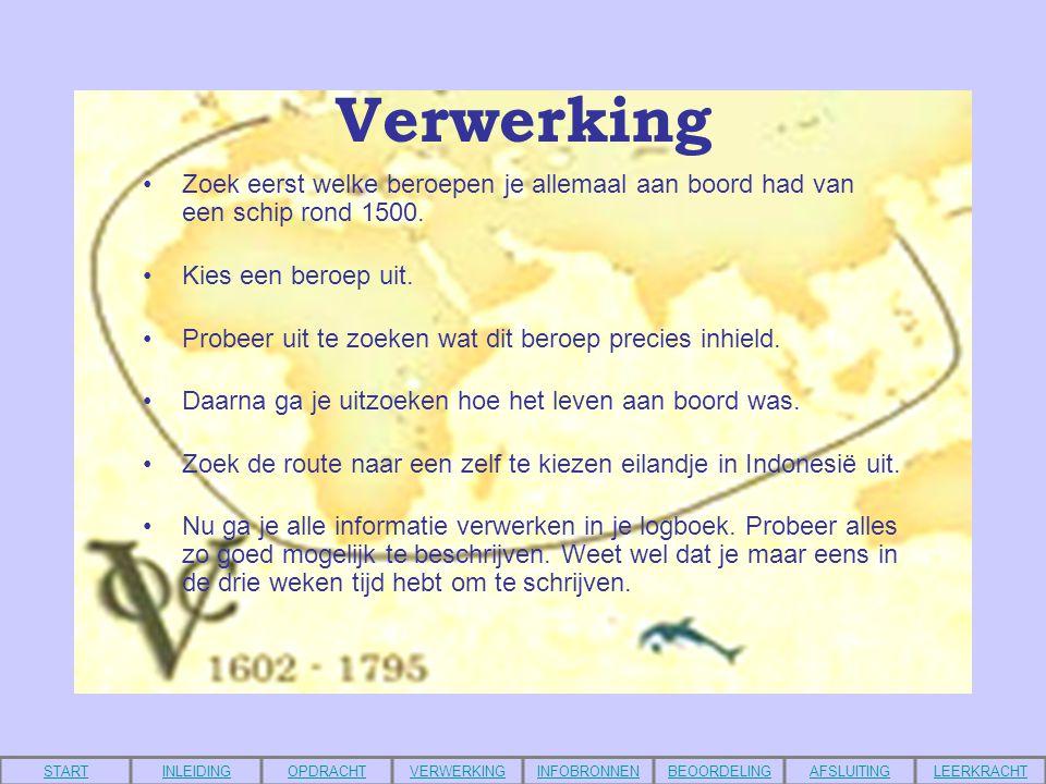 Infobronnen •http://home.hccnet.nl/l.th.dirksz/w_kombuis_scheepvaartgeschiedenis17.htmhttp://home.hccnet.nl/l.th.dirksz/w_kombuis_scheepvaartgeschiedenis17.htm •http://www.schooltv.nl/vroegerenzo/pagina.jsp?nr=vz_werkstuk&wsnr=156147#item156156http://www.schooltv.nl/vroegerenzo/pagina.jsp?nr=vz_werkstuk&wsnr=156147#item156156 •http://mediatheek.thinkquest.nl/%7Ell069/dutch/index.php3?subject=voyages/asia/columbus_firsthttp://mediatheek.thinkquest.nl/%7Ell069/dutch/index.php3?subject=voyages/asia/columbus_first •http://proto.thinkquest.nl/%7Ejrb536/html/spanje.htmlhttp://proto.thinkquest.nl/%7Ejrb536/html/spanje.html •http://www.rnw.nl/kids/Nederland/Geschiedenis/VOC/VOC_home.htmhttp://www.rnw.nl/kids/Nederland/Geschiedenis/VOC/VOC_home.htm •http://www.digitalejuf.nl/http://www.digitalejuf.nl/ •http://www.londoh.com/voc_links.htmhttp://www.londoh.com/voc_links.htm •http://www.histocasa.nl/onderbouw/klas2/ontdekkingsreizen/inl.htm#ontdekkinghttp://www.histocasa.nl/onderbouw/klas2/ontdekkingsreizen/inl.htm#ontdekking •www.google.nlwww.google.nl •www.ilse.nlwww.ilse.nl •www.davindikennisnet.nlwww.davindikennisnet.nl STARTINLEIDINGOPDRACHTVERWERKINGINFOBRONNENBEOORDELINGAFSLUITINGLEERKRACHT