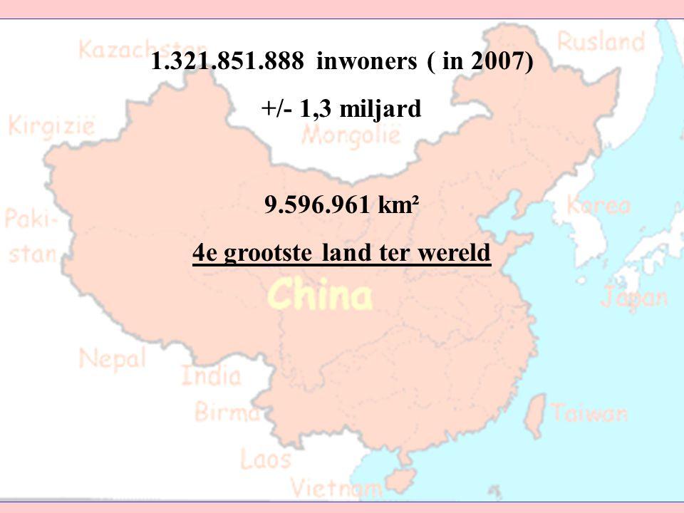 1.321.851.888 inwoners ( in 2007) +/- 1,3 miljard 9.596.961 km² 4e grootste land ter wereld 1.