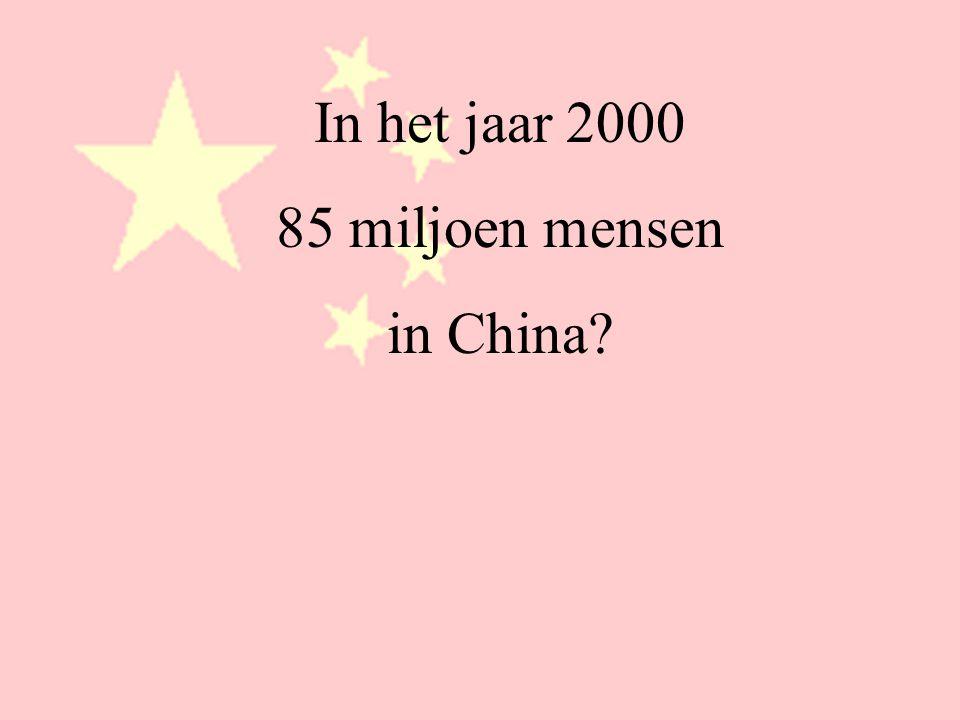 In het jaar 2000 85 miljoen mensen? 1,3 miljard / 85 miljoen =