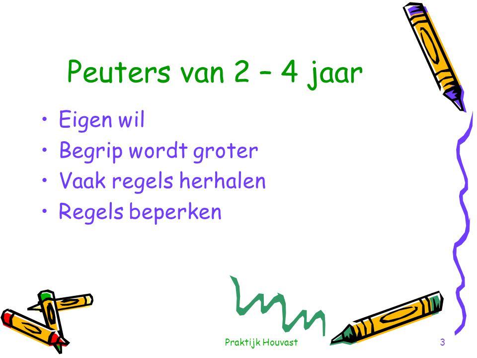 Praktijk Houvast3 Peuters van 2 – 4 jaar •Eigen wil •Begrip wordt groter •Vaak regels herhalen •Regels beperken